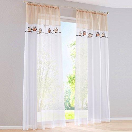 1PC Gardine mit Eule Stickerei Vorhange für Kinderzimmer Transparent Voile Vorhang (BxH 140x245cm, sand mit kräuselband) (Grün Gestreiften Schal)