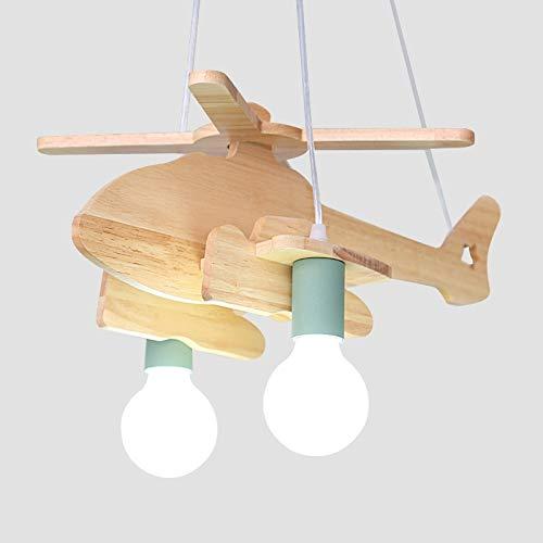 ZHUTAITAI E27 Lampadario a Sospensione for Aereo for Camera dei Bambini Lampadario for Aereo in Legno da Camera da Letto Solo da '' Best Wishes Shop '' (Color : Green)