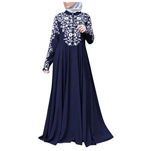 Selou Damen Muslimische Kleidung, Kaftan Arab Jilbab Abaya islamische Lace Stitching Maxi Dress Frauen Lang Festlich Elegant Hochzeit Herbst Winter Blumen Party Design Atmungsaktiv Kleid
