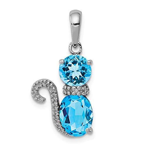 Katzen-Anhänger mit blauem Topas und Diamanten, 2,15 Karat Rundschliff, 925 Sterlingsilber (Blauer Katze Topas)