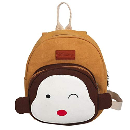 OdeJoy Kind Mädchen Junge Niedlich Affe Tier Rucksack Kleinkind Schuletasche Schulranzen Drucken Karikatur Schulranzen Mode Reißverschluss Backpack Cute Students Bags(Gelb,1 PC)