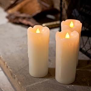Lot de 3 Bougies Fines LED à Piles en Cire Véritable avec Effet Fondu par Lights4fun