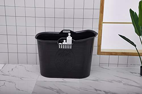 Mobile Badewanne, Ideal für das kleines Badezimmer, 92 * 51 * 63cm, Stylisch und Stimmungsvoll (Schwarz)