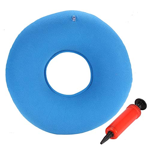 3Colors Nuevo cojín de asiento de hemorroides con almohadilla de silla redonda inflable con bomba(Azul)