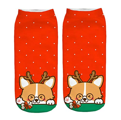XINAINI Sneakersocken Herren Damen Stricksocken Warm Kurzes Socken - 3D Elk Weihnachtsmann Gemusterte Bunte Farben Baumwollsocken Elastische Atmungsaktiv Sport Baumwolle Weihnachtssocke Unisex