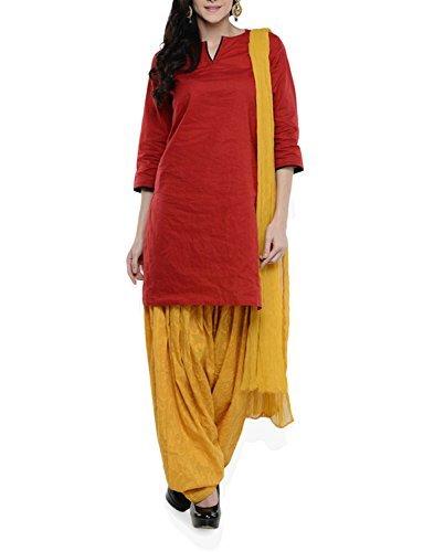 Womens Cottage Women's Mustard Pure Cotton Jacquard Semi Patiala Salwar & Chiffon Dupatta Stole Set with Lace
