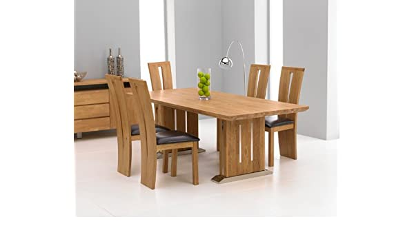 Orlando Solid Oak Furniture Large Dining Table And 6 Arizona Chairs Set Amazoncouk Kitchen Home