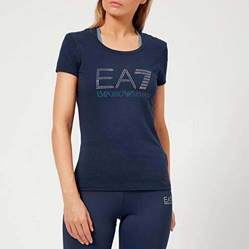 3a470dd6b Emporio Armani EA7 Women's Train Logo Series Short Sleeve T-Shirt with  Studs - Navy