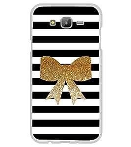 Fuson Designer Back Case Cover for Samsung Galaxy E5 (2015) :: Samsung Galaxy E5 Duos :: Samsung Galaxy E5 E500F E500H E500Hq E500M E500F/Ds E500H/Ds E500M/Ds (Gold ribbon Gold Lines Black white)