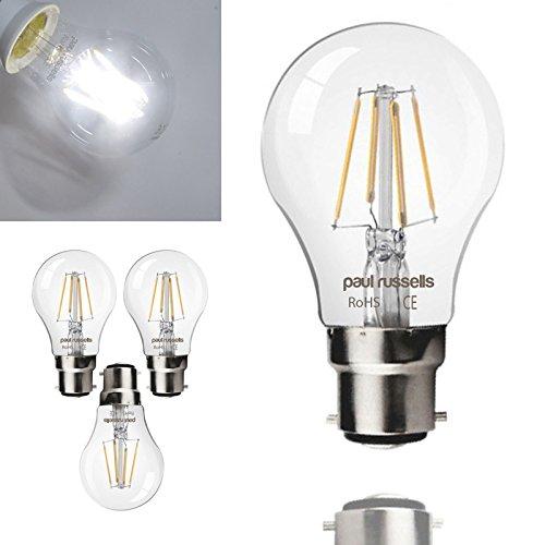 3x Russel Paul Vintage Style Bajonett Cap LED-Leuchtmittel 8W GLS Antik Globe A60Licht Dekorieren Home 360Beam Lampe B22BC 6500K Tag Licht 80W Glühlampe Ersatz [3Stück Leuchtmittel]