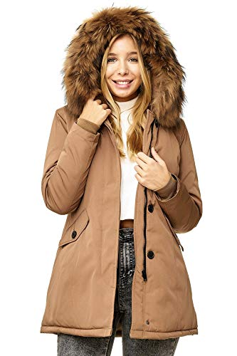 Elara Damen Winterparka | Jacke mit Echt Pelz / Echt Fell Kapuze | Designer Damenjacke | Gefütterte Outdoor Mantel | chunkyrayan, Größe 40, Farbe Camel London