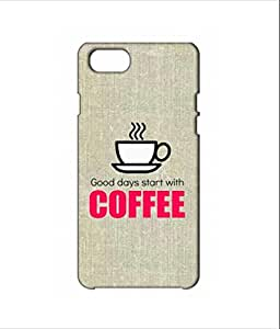 Nimbu Mirchi Designs Hard Case matte Finish good dayz starts with coffee Iphone 7 (White)