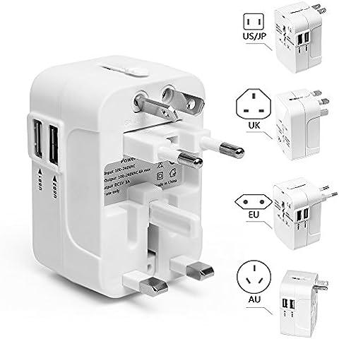 HEPHEAS internacional adaptador Conversor para US EU UK AU sobre 150 Países todo en uno cargador de pared universal adaptador de enchufe con 2 USB y fusible de