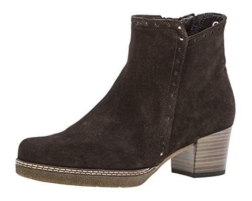 Gabor Damen Stiefelette 96.662,Frauen Stiefel,Boot,Halbstiefel,Damenstiefelette,Bootie,Hoch,Blockabsatz 3.5cm,G Weite (Normal),ENGL. Brown (Micro),UK ()