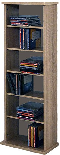 "VCM Shelf Shelves Storage Unit Cabinet Bookshelf Bookcase CD DVD Furniture Tower Wood ""Vostan"" Black"