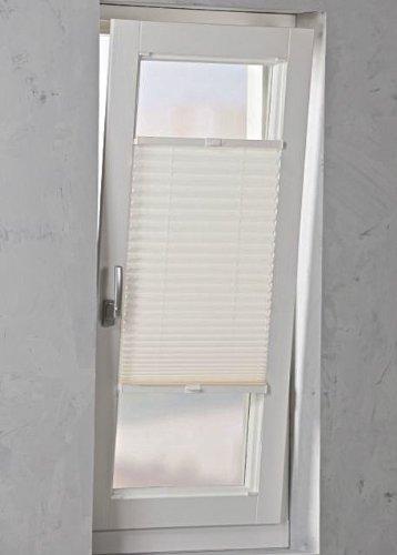 Plissee verspannt weiß Breite wählbar 40 - 120cm Länge 130cm - Klemmfixbefestigung möglich (40 x 130cm)
