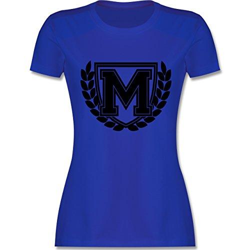 Anfangsbuchstaben - M Collegestyle - tailliertes Premium T-Shirt mit Rundhalsausschnitt für Damen Royalblau