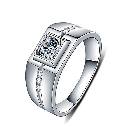 Epinki Herren 925 Sterling Silber Ringe Rechteckig Geometrisch Type Form Solitärring Silberringe Herrenringe Silber mit Zirkonia Gr.58 (18.5) - Rechteckige Finger Ziehen