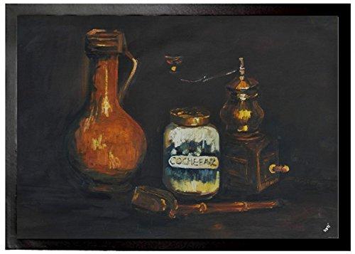 Preisvergleich Produktbild 1art1 94894 Vincent Van Gogh - Stillleben Mit Bartmannkrug, Kaffeemühle Und Pfeifenetui, 1884 Fußmatte Türmatte 70 x 50 cm