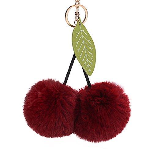 Handtaschen Material (Nette Kirschblätter Schlüsselanhänger Keychain Auto Anhänger Geldbörse Handtasche schlüsselbund Pompons hängen Plüsch Lonshell 8CM (Wein))