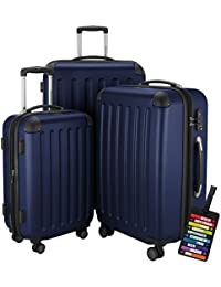Hauptstadtkoffer® Set di valigie 49+82+128 litri con un lucchetto TSA Seria SPREE (Colore Blu Scuro con 1 ciondolo per la valigia)