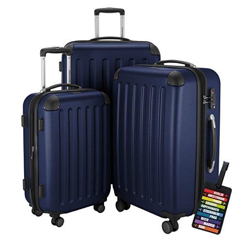 HAUPTSTADTKOFFER Hartschalen Koffer SPREE 1203 · NEU 4 Doppel-Rollen · MATT · TSA Zahlenschloss · + KOFFERANHÄNGER (Set, Dunkelblau)