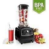 Klarstein Herakles 2G Batidora BPA-free • Mezcladora • Picadora • Licuadora • Smoothies sopas cremas • 1200 W • 28000 rpm • 2L • 6 cuchillas • Negro