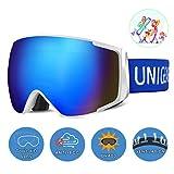 Unigear Maschere da Sci, Maschere da Snowboard OTG UV413 Produzione Doppie Lenti Casco Antiappannamento Occhiali da Neve Antivento Compatibili per Bambini Donna Uomo Genitore-Figlio