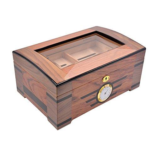 Zigarren Humidor, Cigarol Holzmaserung Humidor mit Hygrometerfür 75-100 Zigarren