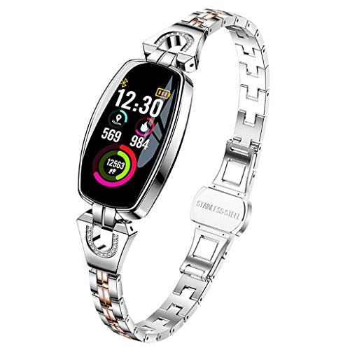 Intelligentes Armband/Uhr-wasserdichtes Herzfrequenz-Blutdruckmessgerät für Männer Frauen Android Ios (Color : Silver)