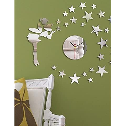 Da Wu Jia art Home Decoración de pared Reloj pared Efecto espejo Reloj de pared DIY Diseño moderno cuento de Cartoon estrellas adhesivo de pared Reloj de pared,sala de estar ,
