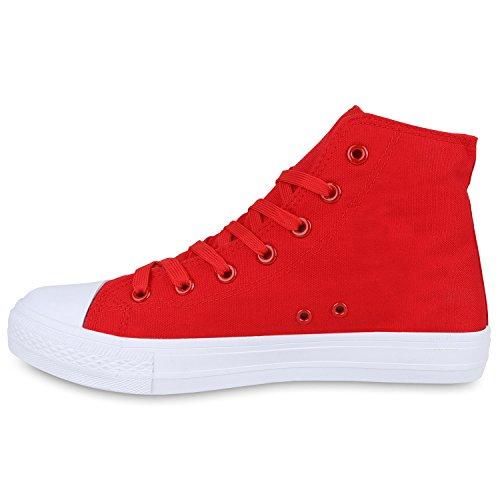 Herren Schuhe Sneakers   Sneaker High Denim   Turnschuhe Camouflage   Stoffschuhe Schnürer Rot Total