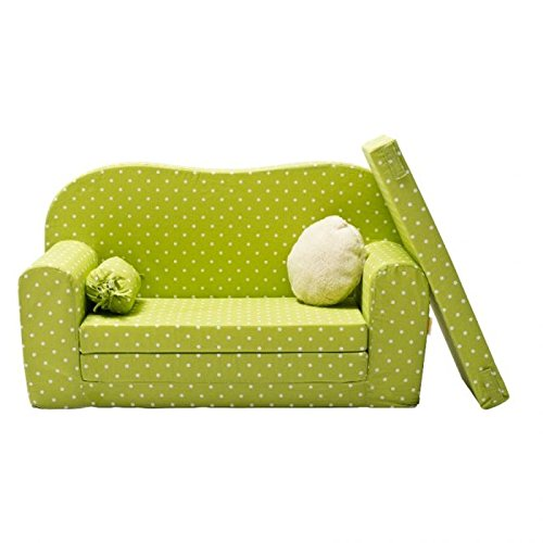 Gepetto 05.07.11.02 Maxi Kindersofa ausklappbar plus extra Kissen mit Liegefunktion als Gästebett, grün