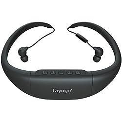 Auriculares inalámbricos Bluetooth MP3 Sonido estéreo, estéreo, reproductor de música Tayogo IPX8 con radio FM / Petómetro para nadar, correr, correr y actividades de deportes al aire libre. (8G, negro)
