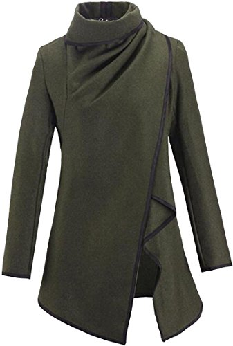 jeansian Donne Moda Cappotto Giacca Cardigan Irregolare WHS017 ArmyGreen