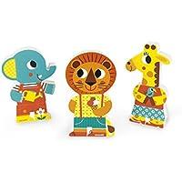 Janod Funny Magnets 3 Personajes magnéticos de Madera, Un día en el Zoo (J08030)