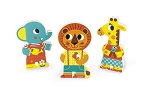 Janod - Funny Magnets Un día en el Zoo, 3 personajes magnéticos de madera (J08030)