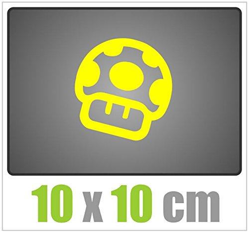 Dinger-Design Aufkleber SUPER Mario PILZ Sticker JDM OEM Decal Autoaufkleber Style Stickerbomb 10x10cm gelb