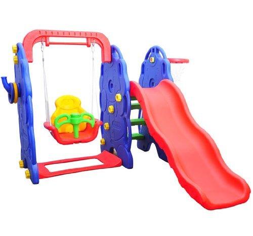 Columpio Infantil + Tobogan y Canasta Baloncesto Juguete Jardin Niños a Partir 3 años