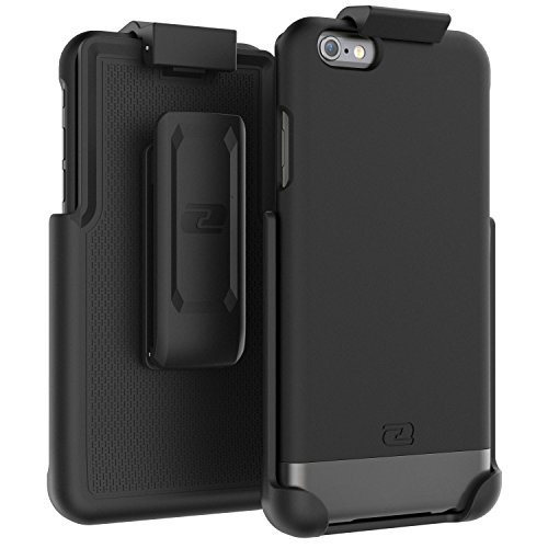 "iPhone 6S Plus Belt Case, Encased Ultra Thin (2016 SlimShield Edition) Secure-fit Holster Clip & Tough Cover (For Apple iPhone 6 Plus 5.5"") (Smooth Black) Smooth Black"