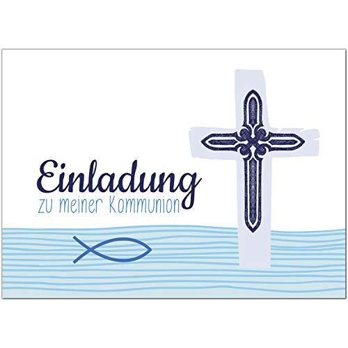 15 x Einladungskarten Kommunion mit Umschlag/Blaue, moderne Karte/Kommunionskarten/Einladungen zur Feier