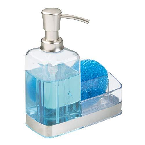 M-Design mDesign Dosificador de jabón - Moderno dispensador de jabón con válvula dosificadora y portaestropajos - Dosificador de Cocina de plástico - Transparente y Plateado