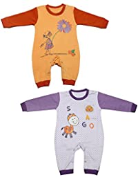 Babeezworld Baby Full Sleeve Diaper Friendly Printed Cotton Romper Sleeping Suit Set for Boy's & Girl's (Combo Pack Of 2) Orange Purple