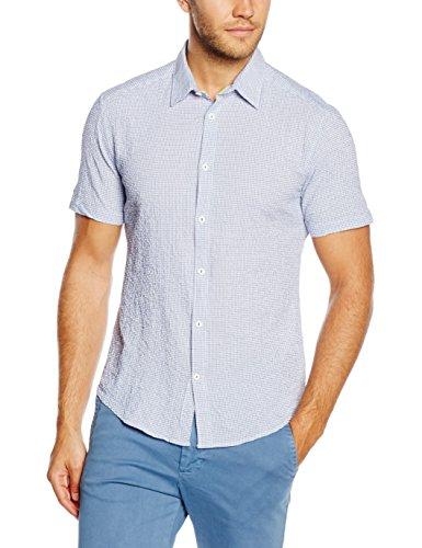 ESPRIT Searsuck Str Ss - Camicia a maniche corte Uomo, Blu, Small