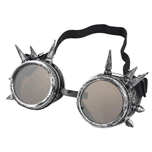 TUDUZ Vintage StilRivet Steampunk Winddicht Spiegel Weinlese Gotische Objektive Goggles Cosplay Brille (F)