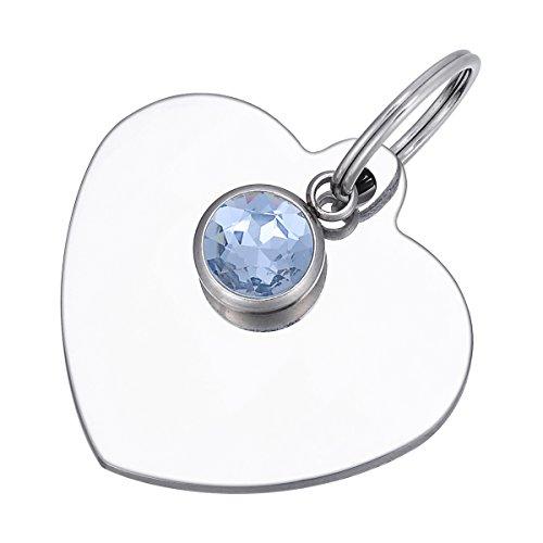 By Edelstahl-Herz mit mit Haustier-Schild mit Geburtsstein -, Silber, Anhänger Mar