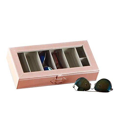 UnionPlus 5-Slot Sonnenbrillen Organizer Kollektor-- Krokodil Kunstleder Fall Box, Leder, Pearl Pink, M -