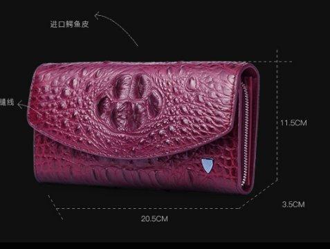 lpkone-Mesdames mode motif crocodile sac à main sac de soirée d'embrayage rouge-vert Purple