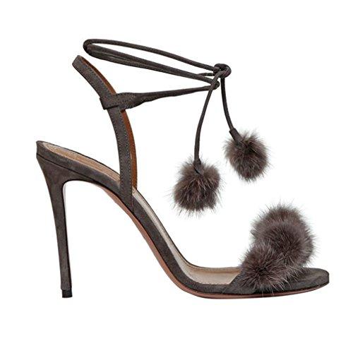 Mulheres Para Sapatos Stiletto Cruzam Sólidos Sandálias Toe Salto Enmayer up Lace Casuais De De Festa Peep As Cinza Verão Tiras Alto AqZxdB