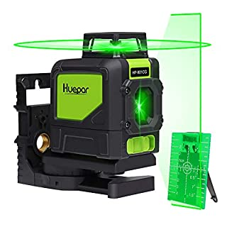 Huepar 901CG Laser Level Mute - Green Beam Cross Laser Self-Leveling - Green Laser Level - 360° Self Levelling Laser Line - Professional Leveling Tool - Green Line Lasers - Laser Spirit Level